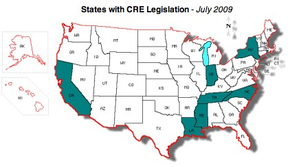Map highlighting states with CRE Legislation: California, Indiana, Louisiana, Mississippi, New York, North Carolina, Rhode Island, Tennessee